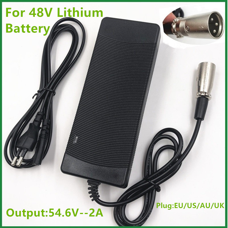 54.6V2A Charger  54.6v 2A  Electric Bike Lithium Battery  Charger For 48V Lithium Battery Pack  XLRM  Plug  54.6V2A Charger