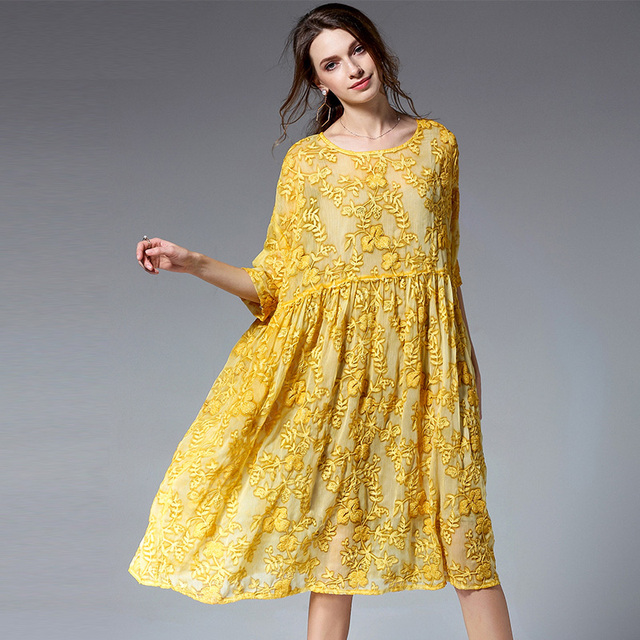 Plus Size Dresses Women Casual Loose Elegant Dress High Waist Crew