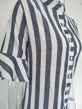 Women Horn Sleeve Striped Half Sleeve Tops Long Blouse Ladies striped trumpet sleeves long shirt top