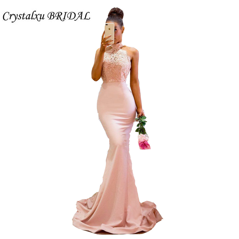 Cheap Blush Pink Bridesmaid Dresses Mermaid Halter Lace Appliques Satin Long Party For Wedding Guest Dress Vestido Longo(China)
