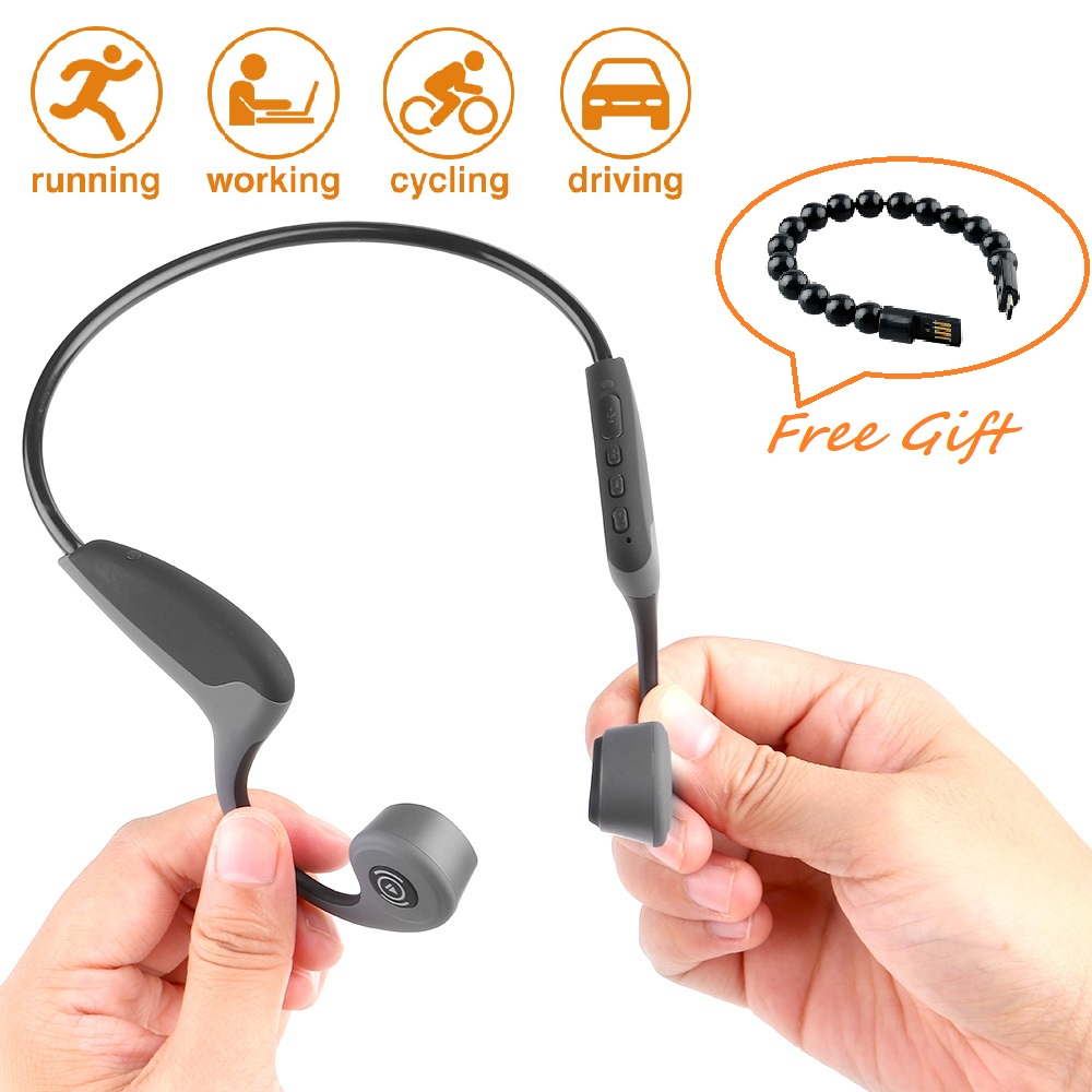 S.Wear Z8 Bluetooth 5.0 Headphones Bone Conduction Wireless Earphone Outdoor Sport Stereo Headset with Mic for iOS Android Phone