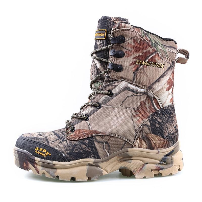 Новые уличные водонепроницаемые охотничьи сапоги камуфляжные зимние кроссовки зимние сапоги Плюшевые тактические мужские ботинки для взрослых прогулочная обувь - 6
