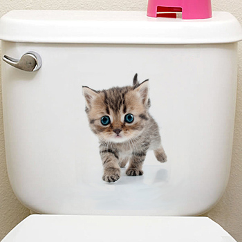 Cats 3D Wall Sticker Toilet Stickers Hole View Vivid Dogs Bathroom Home Decoration Animal Vinyl Decals Art Sticker Wall Poster 21