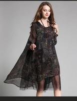 4XL women silk autumn dress 2017 new plus size female long sleeve mesh patchwork silk party fashion brand brief dresses summer