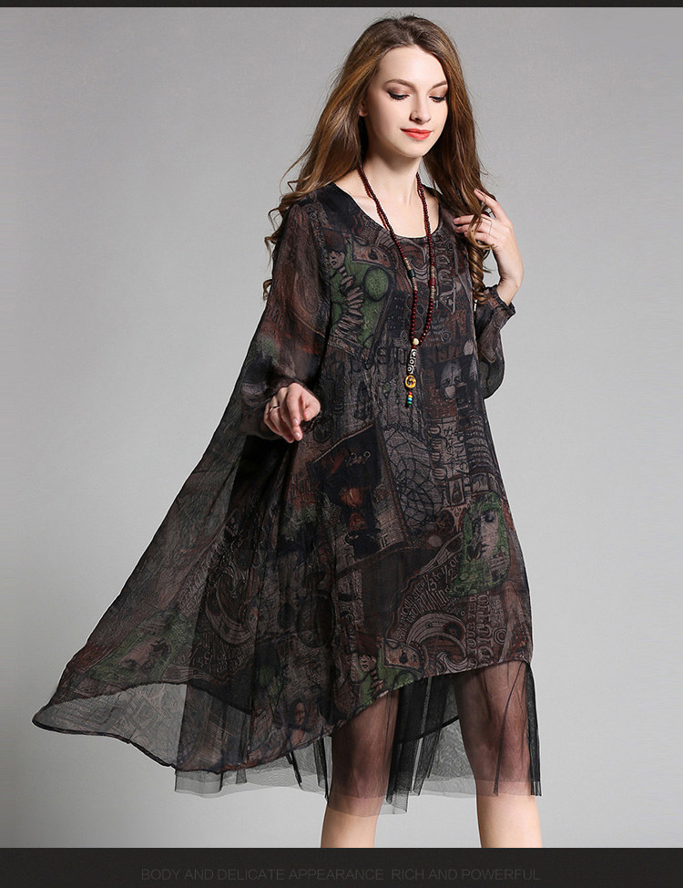 4XL women silk autumn dress 2017 new plus size female long sleeve mesh patchwork silk party fashion brand brief dresses summer