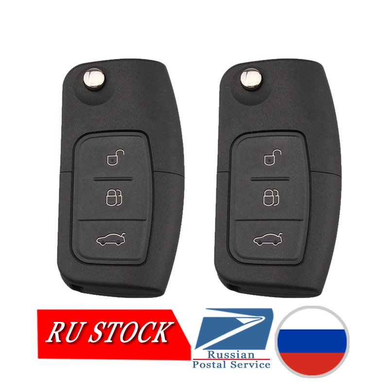 2PCS/Lot 3 Buttons Remote Key for FORD Car Mondeo Focus Fiesta C Max S Max Galaxy 433MHz with 4D63 Chip HU101 Blade no Logo