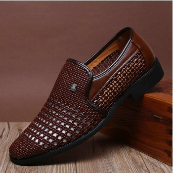 2019 New Summer Vintage Men's Leather Sandals Genuine Leather Soft Bottom Slip-on Shoes Hole Shoes Hollow Weave Shoes 1