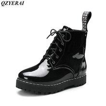 QZYERAI Autumn and winter low heel belt classic vintage Martin boots women's boots women shoes