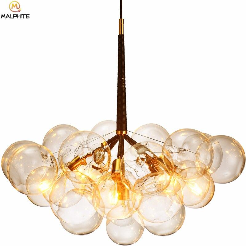 Nordic modern chandelier lighting LED deco lighting fixtures hanglamp glass ball bubble iron branch chandelier hanging lighting