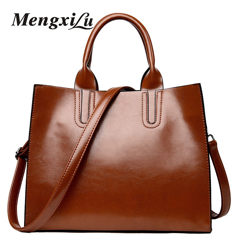 Fashion Women Handbag PU Oil Wax Leather Women Bag Large Capacity Casual Tote Bag Big Women Shoulder Bags Vintage Ladies Handbag new 2017 fashion brand genuine leather women handbag europe and america oil wax leather shoulder bag casual women