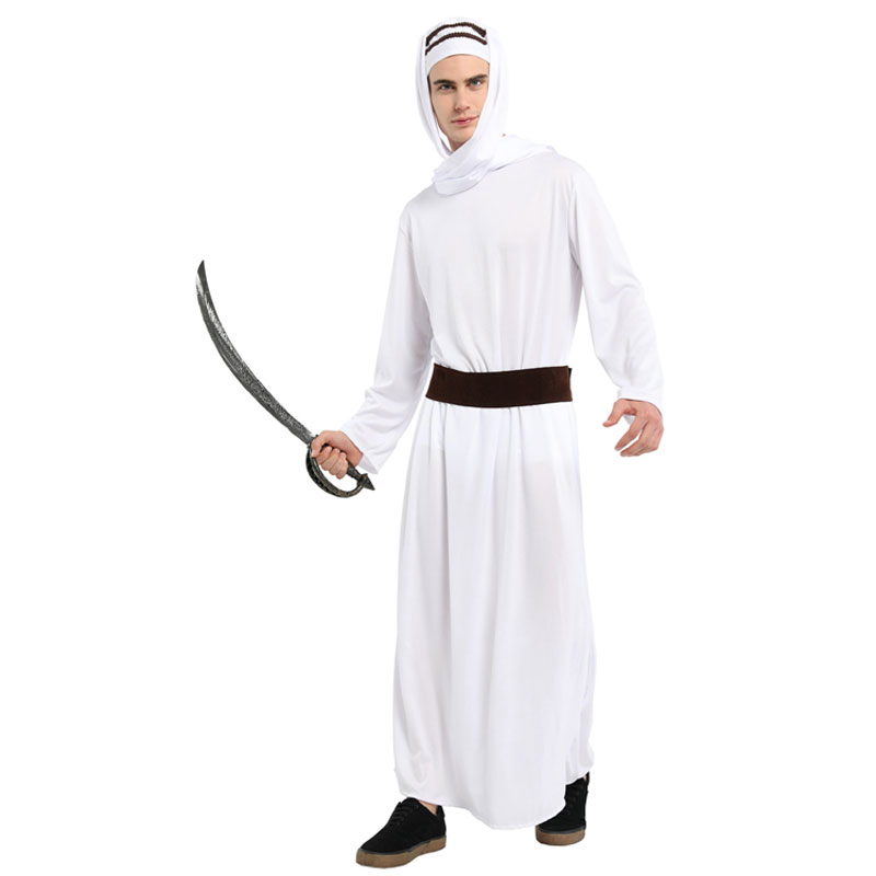 Adult Mens Lawrence of Arabia Costume Arab Warrior Cosplay Robe Halloween Spirit Carnival Mardi Gras Fancy Dress in Holidays Costumes from Novelty Special Use