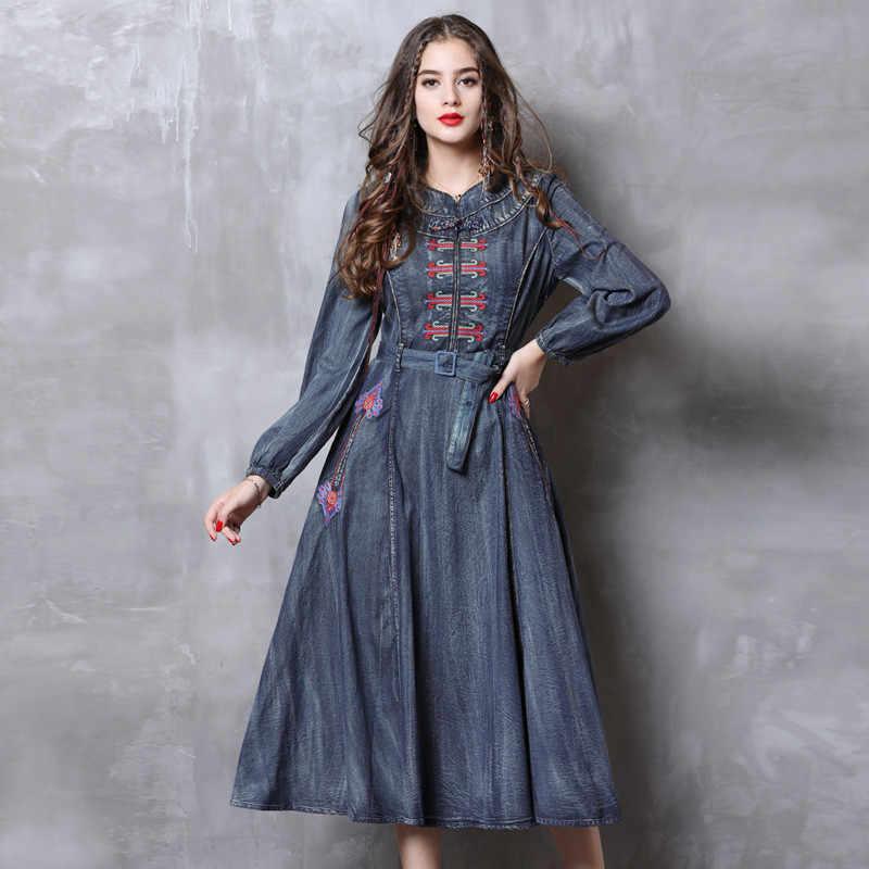 8d91ea5b32a Винтажное осеннее джинсовое платье 2018 женское с длинным рукавом А-силуэта  Цветочная вышивка Ethic Cotton