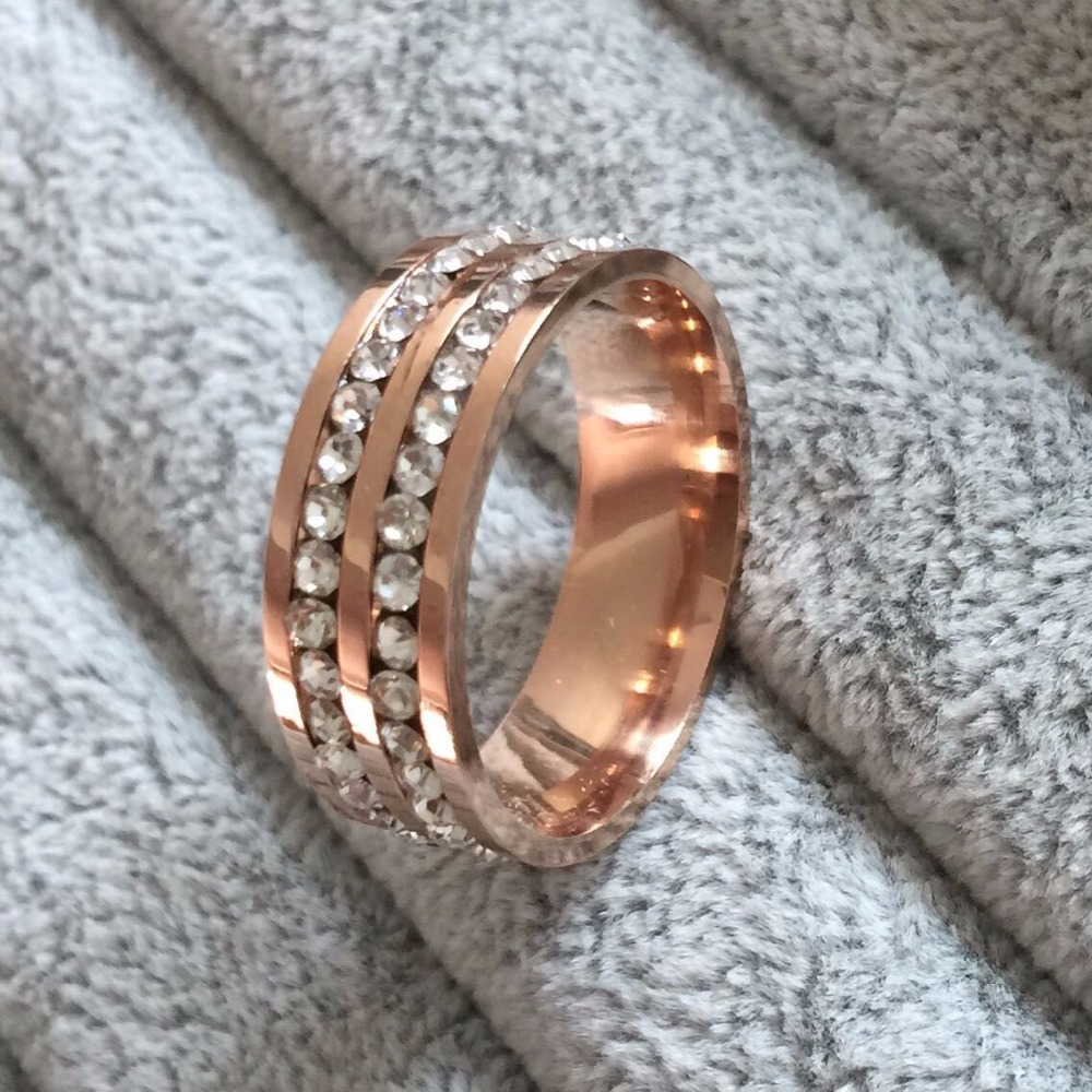 famous brand luxury rose gold plated cz diamond champagne rings top classic design wedding lovers ring