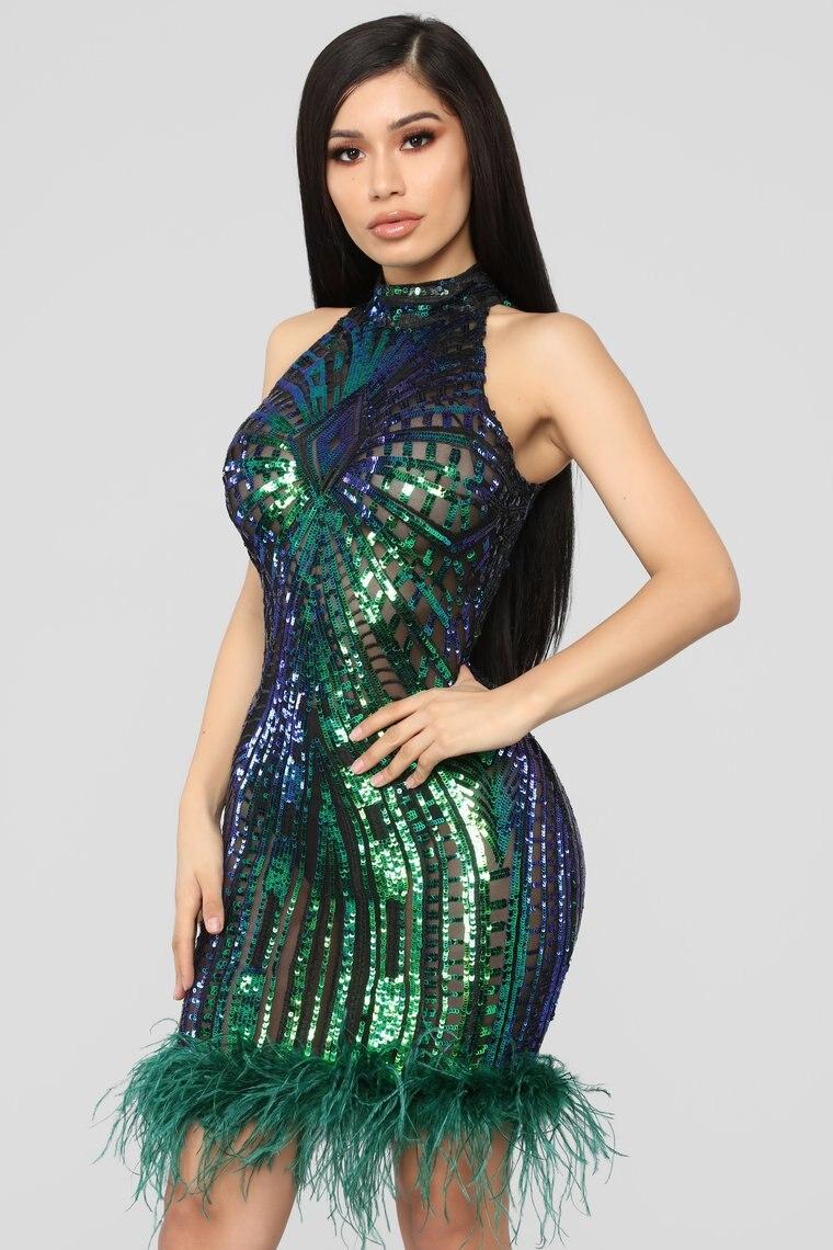 Женское Прозрачное платье, с открытой спинкой, блестками и перьями