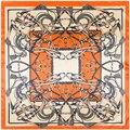 2017 Spring Fashion Silk Square Scarf Women France Chain Print Foulard Scarves&Wraps Big Hijab Bandana Lady Neckerchief 90x90