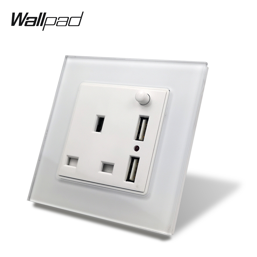 S7 White Black 13A UK BS Tempered Glass Panel Socket With Double USB  2100mA Charging Ports, Wall Power Outlet Plate 3 Pin
