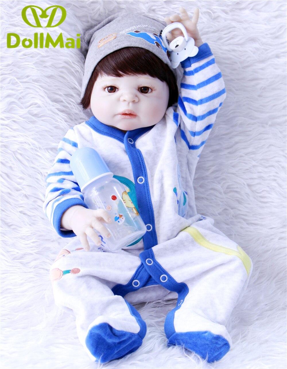 Красивые коричневые волосы девушкая силиконовая боди для новорожденных, для девочек куклы реалистичные новорожденных Детская кукла винил... - 2