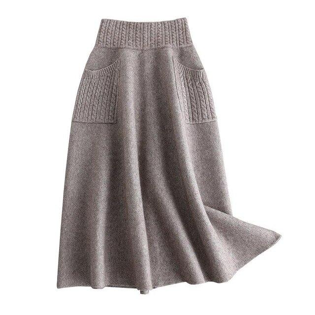 Sherhure 2019 High Waist Women Winter Wool Knitting Long Skirts Faldas Jupe Femme Saia Vintage Women Black Skirt With Pocket 1