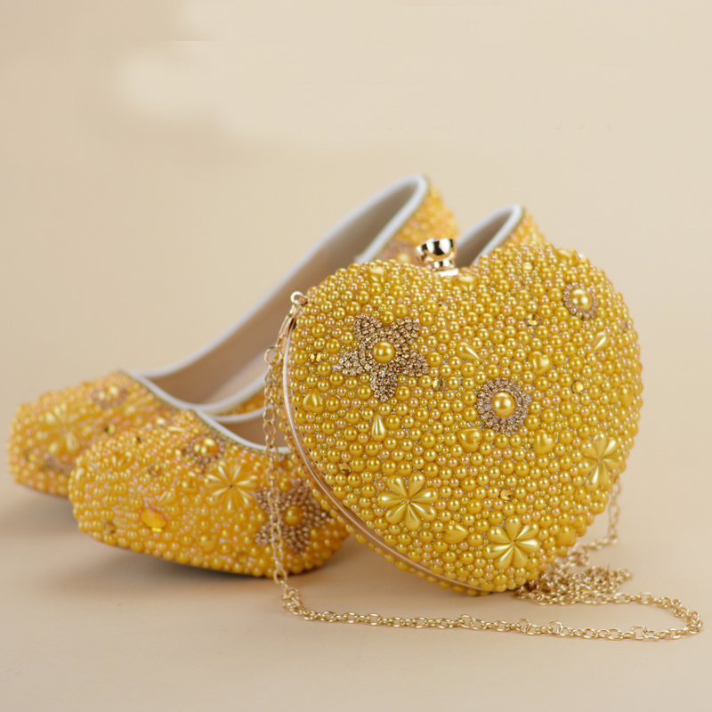 Yellow Pearl Women High Heel Shoes Round Toe Rhinestone Wedding Party Prom Shoes with Matching Bag Adult Ceremony Pumps Clutch platform round toe pearl pumps bridal wedding rhinestone shoes women party dress high heel shoes crystal shoes plus size 43