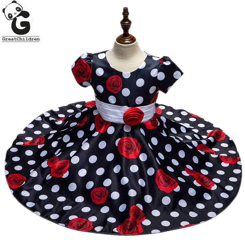 цена на Flower Girl Dresses High Quality Brand Princess Dresses For Girls Party Wedding Performance Dress Polka Dot Kids School Clothes