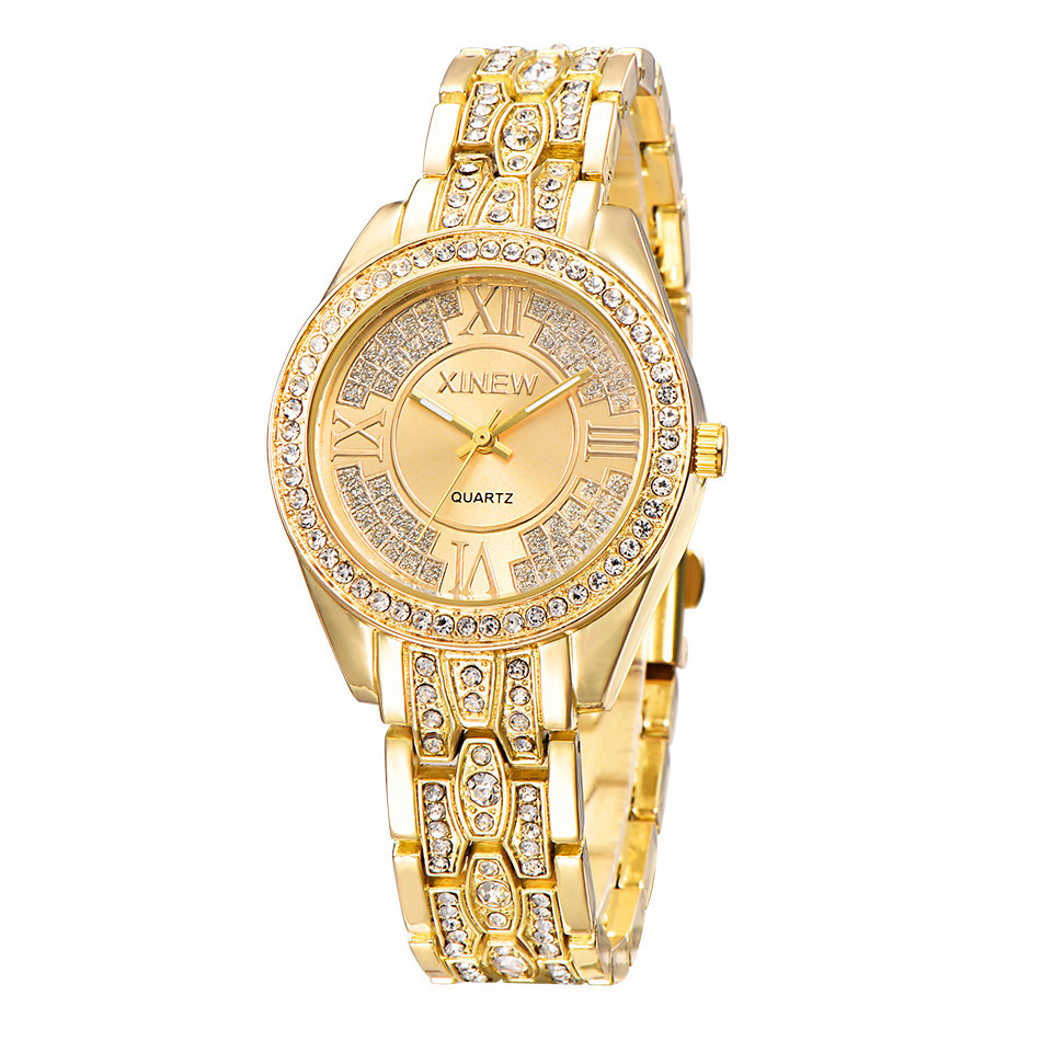 2017 New XINEW Fashion Luxury Famous Brand Quartz Watches Women Crystal Stainless Steel Gold Watch Relogio Masculino Clock Hot new luxury brand dqg crystal rosy gold casual quartz watch women stainless steel dress watches relogio feminino clock hot sale