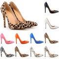 Tamaño 35-42 Estilo de la Estrella de Moda Del Leopardo, Superficiales de piel de Serpiente Tacones Altos Zapatos Nuevos Europeos y Americanos Sexy Señaló dedo del pie de Las Mujeres Bombas