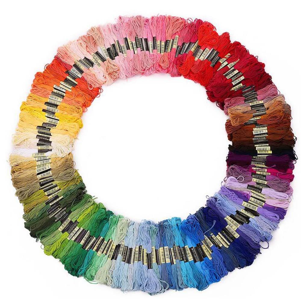 100 madejas de Color mezclado hilos de punto de cruz bordado Floss hilos de coser de poliéster arte suministros de Color al azar