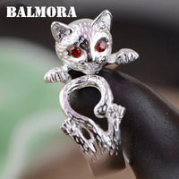 2016 New Female Cool Jewelry 100 Real Pure 990 Silver Jewelry Cute Cat Rings For Women