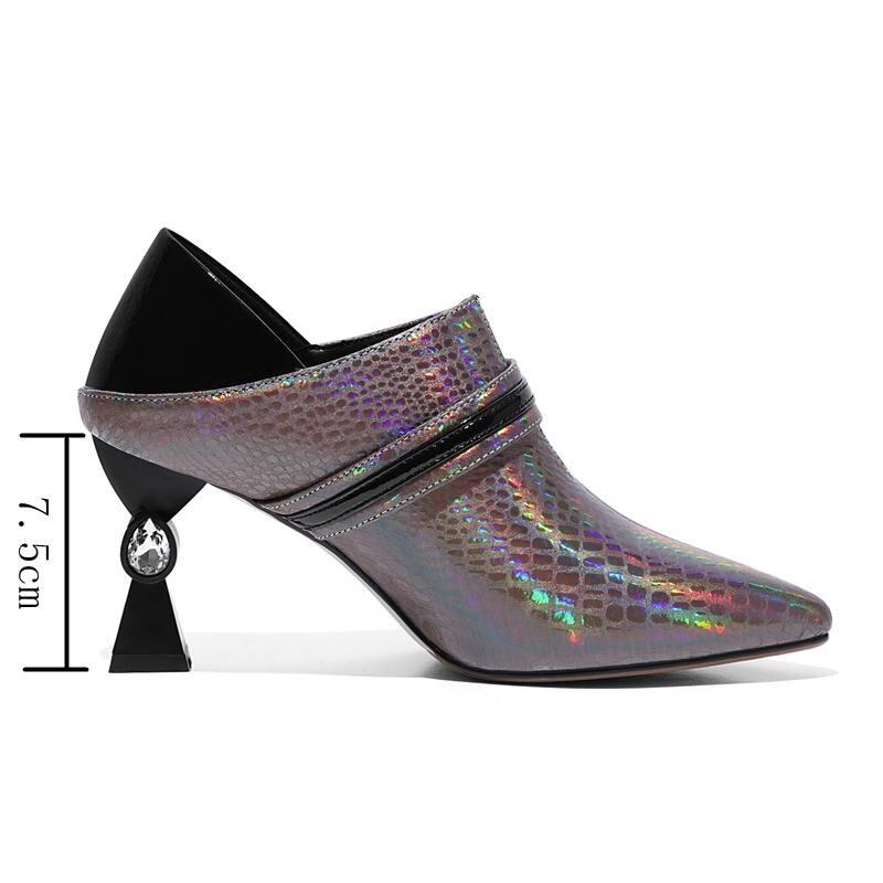 Extraño Cremallera Zapatos On Fiesta De Gato Mujer Negro Alto Tacón Slip Tacones A1540 Reave Cuero Black Mujeres Genuino Hebilla silver Las waIcq6Pq