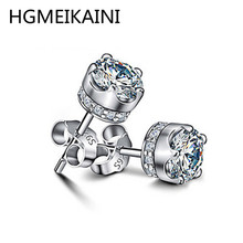 100% silver hot fashion zircon earrings real 925 sterling silver 3 a popular DIY personality contracted earrings ladies present