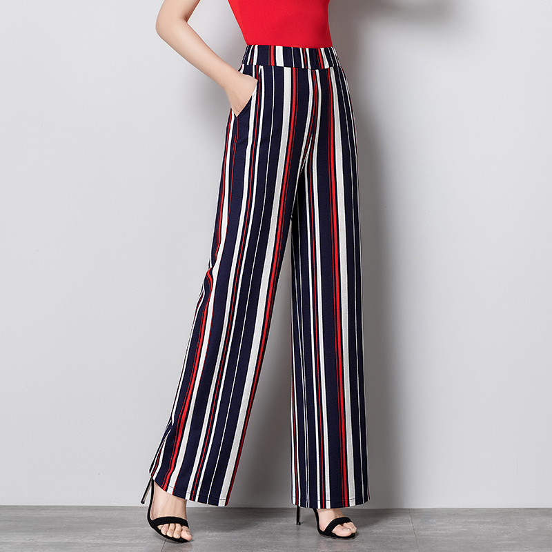 Striped lady   wide     leg     pants   women Summer spring beach high elastic waist trousers Chic streetwear casual   pants   capris female