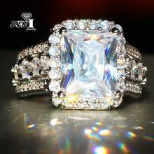 YaYI Biżuteria Fashion Princess Cut 7 9 CT biały cyrkon srebrny kolor pierścionki zaręczynowe obrączki ślubne pierścionki tanie tanio Rings Moda Kobiet Geometryczne Miedzi yayi jewelry Engagement Prong Setting 10mm Trendy HR576 Wedding Bands Cubic Zirconia