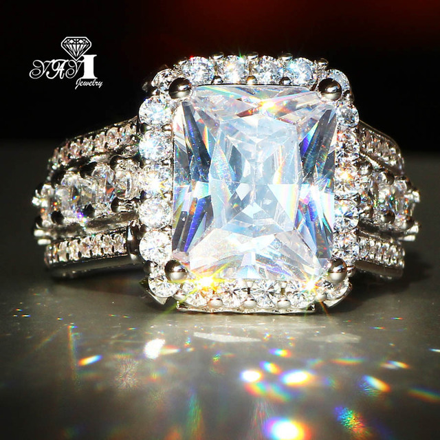 YaYI Jewelry Fashion Princess Cut 7.9 CT White Zircon Silver Color Engagement Ri