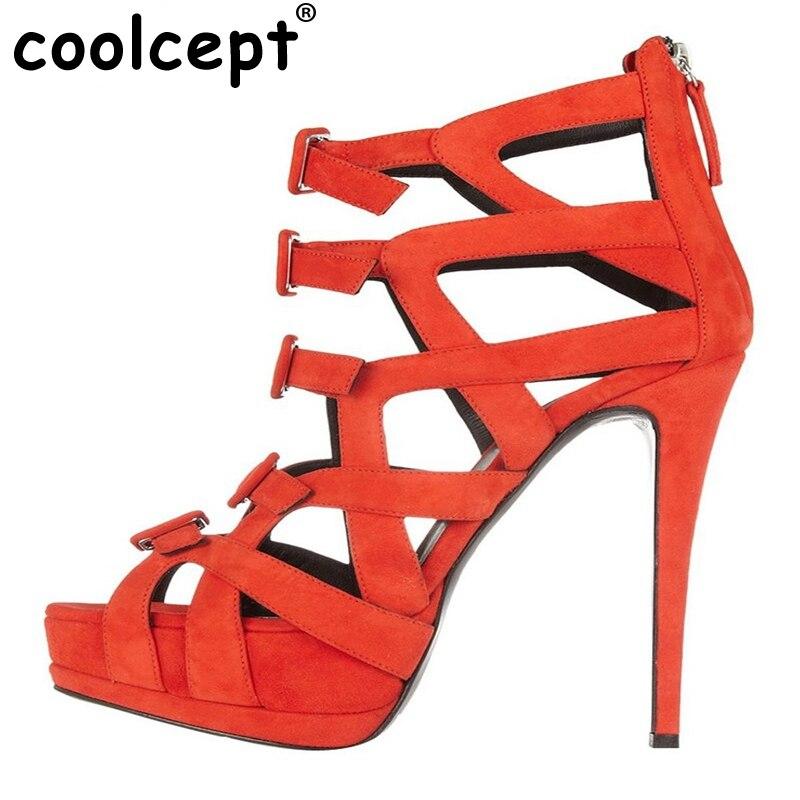 ФОТО Size 35-46 Gladiator Shoes Women High Heel Wedding Bowknot Sandals Thin Heel Platform Zipper Brand Sandal Hollow Out Shoes B039