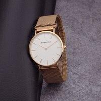 Relogio homem Luxe Eenvoudige Horloges mannen magneet ultradunne Mesh Rvs Band gold Polshorloge Vrouwen Quartz Horloge klok