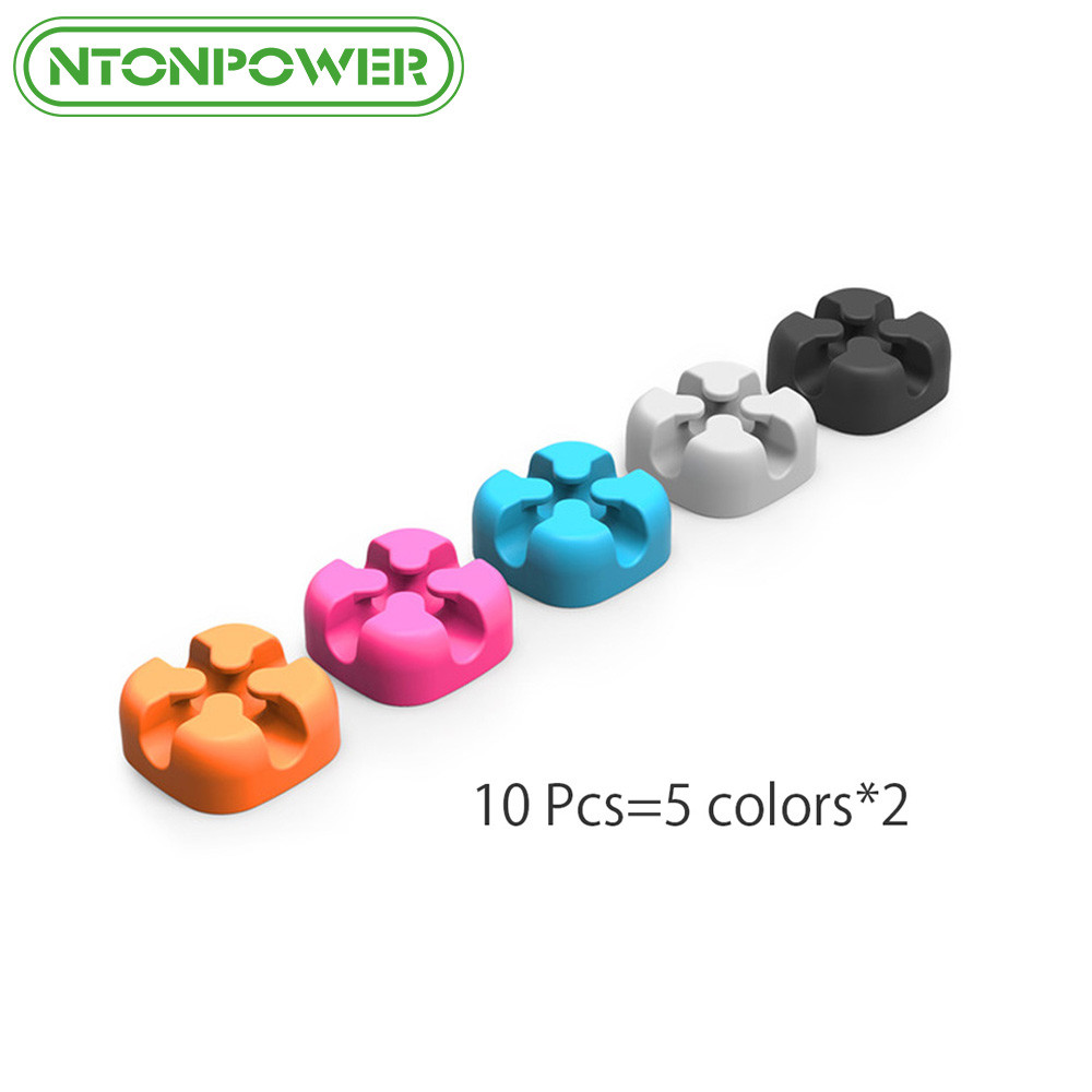 NTONPOWER 10PCS Cable Management Organizer Soft Silicone Cable Winder Colorful Desktop Wire Organizer Cord Protector Holder Clip baseus magnetic cable protector usb charger cable organizer workstation usb date cable holder desktop silicone cable winder clip