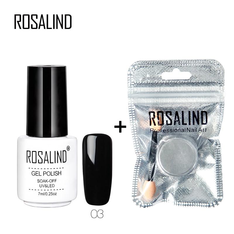 ROSALIND Mirror Power Glitter Set For Nail Beauty Nail Shine Powder Decorations With Pure Gel Nail Polish