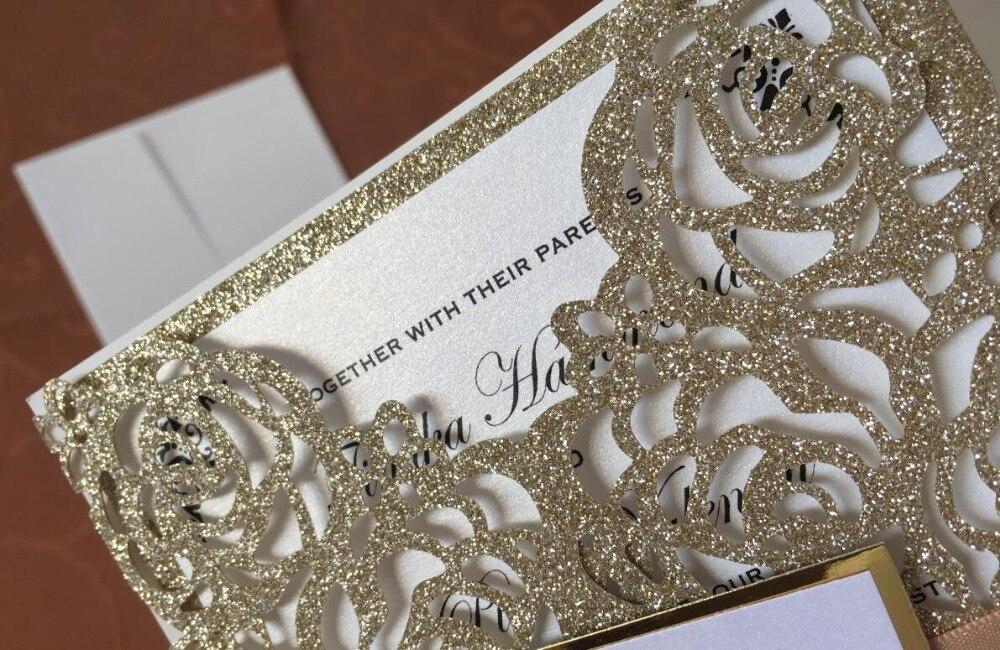 Tarjetas de invitación de oro brillante con cinta y etiqueta, invitaciones de boda con compromiso de corte láser personalizadas, 100 piezas, envío Expreso-in Tarjetas e invitaciones from Hogar y Mascotas    2