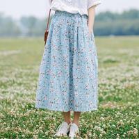 Romantic Small Floral Flowers Print Elastic Waist Pocket Fresh A Line Long Skirt Mori Girl