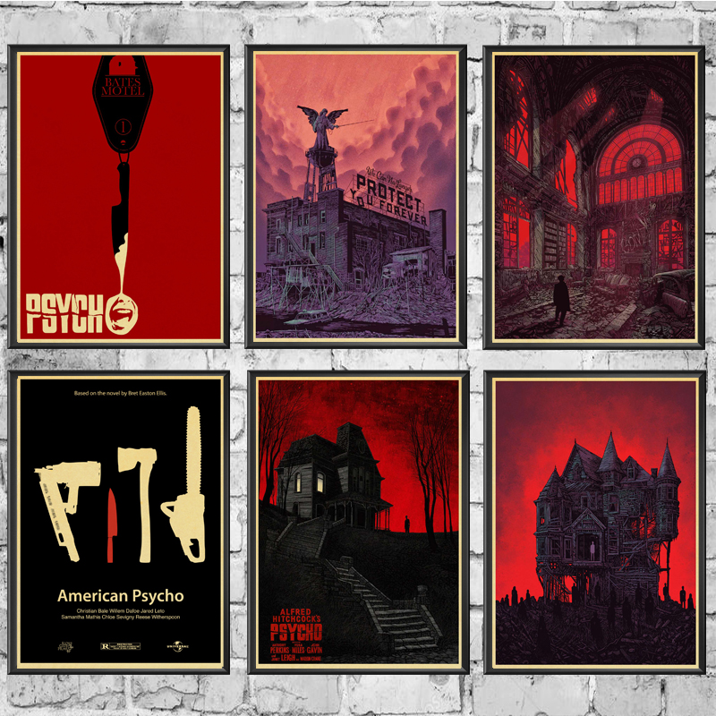 Horror Movie  Alfred Hitchcock's Psycho Horror Film Retro Poster Home Decoration Kraft Poster Painting Wall Stickers