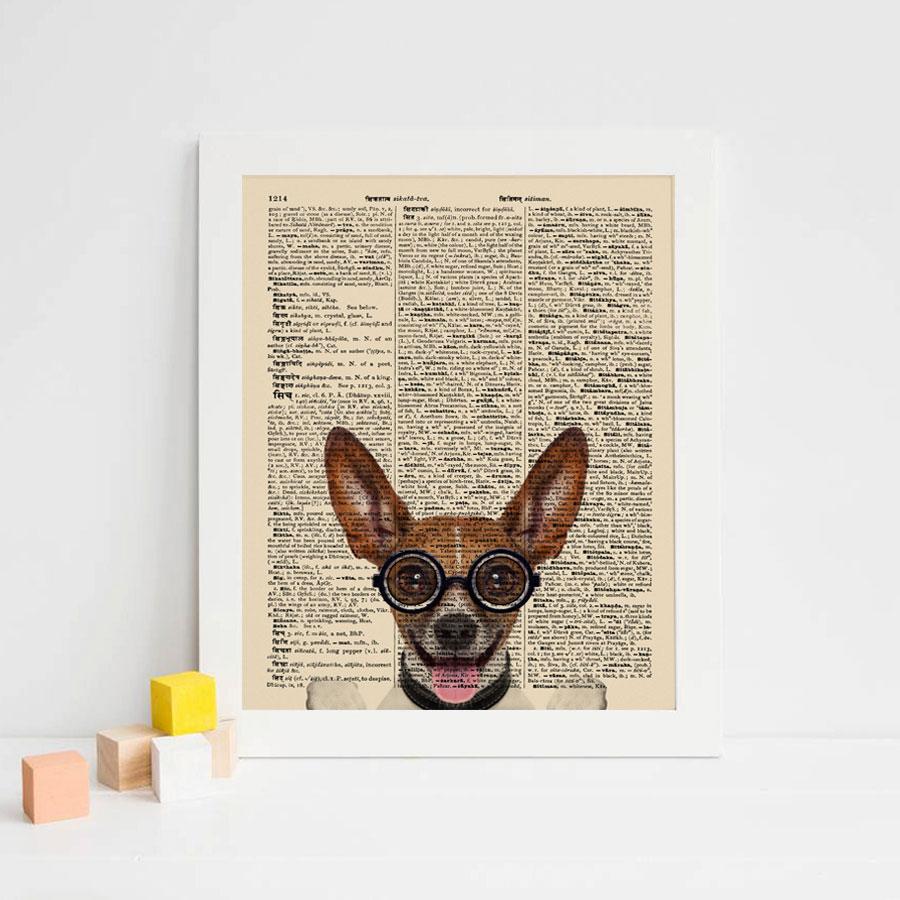 Dictionary Art Paper Chihuahua Wall Art Kids Room Pet Dog Vintage Newspaper Wall Hanging Gift For Children Unframed K102 Wall Art Wall Hangingdog Art Aliexpress