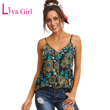 LIVA GIRL Summer Floral Print Button Down Tank Top Woman Casual Sexy V Neck Sleeveless Tops Women Daily Wear and Beach Holiday