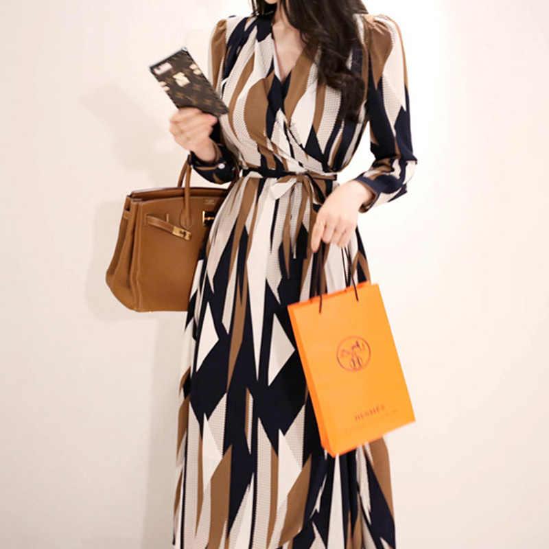 H Han queen сексуальное платье с принтом полоска для женщин 2018 Осень корейский стиль v-образный вырез бандаж свободные платья Винтаж Длинные качели Vestidos