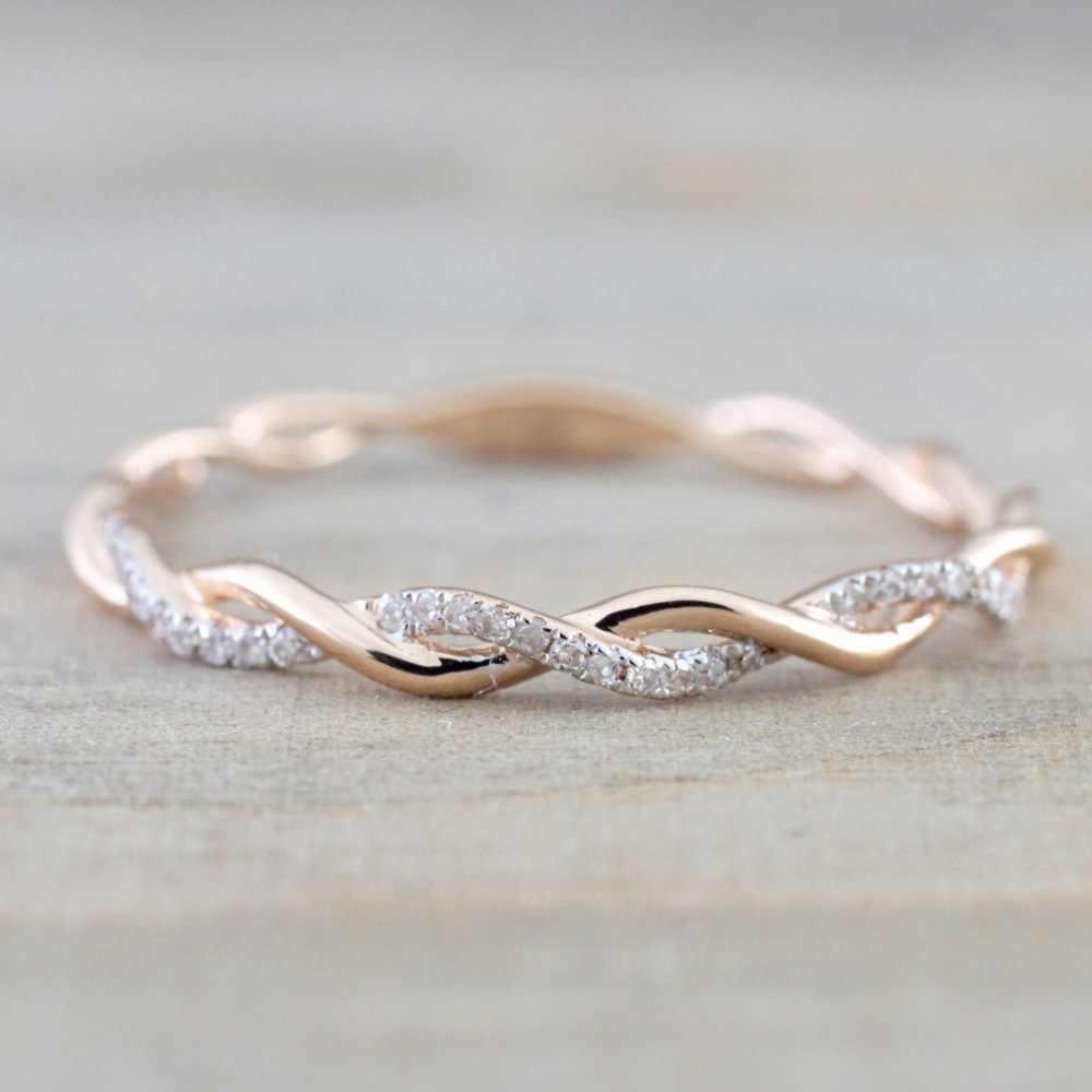 Doreenbeads 2018 novo na moda anel de torção ouro/rosa cor ouro feminino jóias anel de casamento strass moda por atacado 1 peça