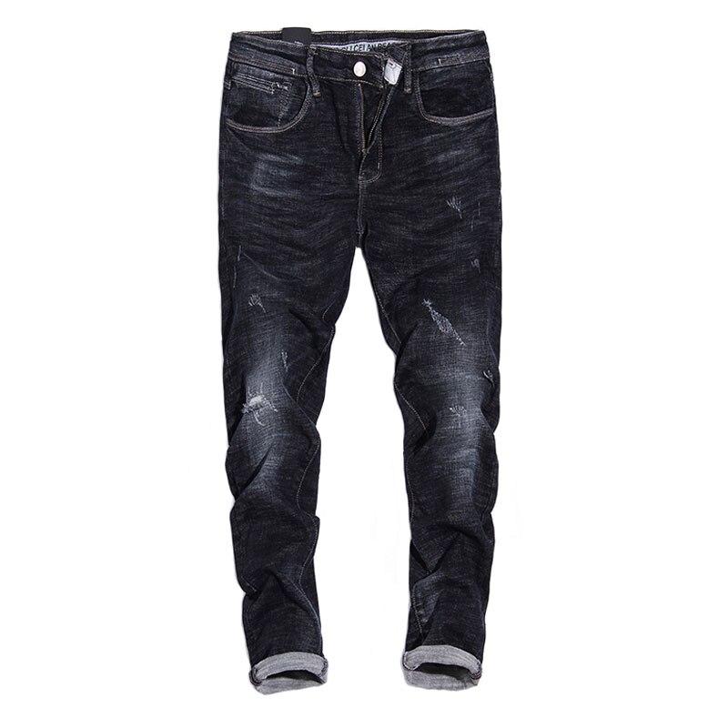 2017 Autumn Fashion Men's Jeans Youth Casual Slim Fit Elastic Ripped Jeans Men Balplein Brand Black Color Skinny Jeans Pants