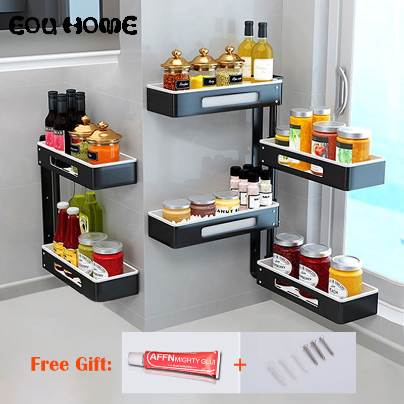 Aluminum Alloy Kitchen Racks Holders Punch free Rotatable Multi layer Wall Hanging Seasoning Rack Bathroom Shower
