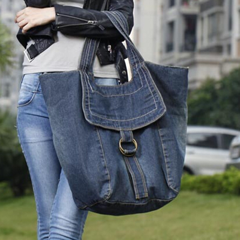 Ladies large capacity casual jeans handbag multi functional denim hand tote fashion leisure shoulder bag walking shopping bag