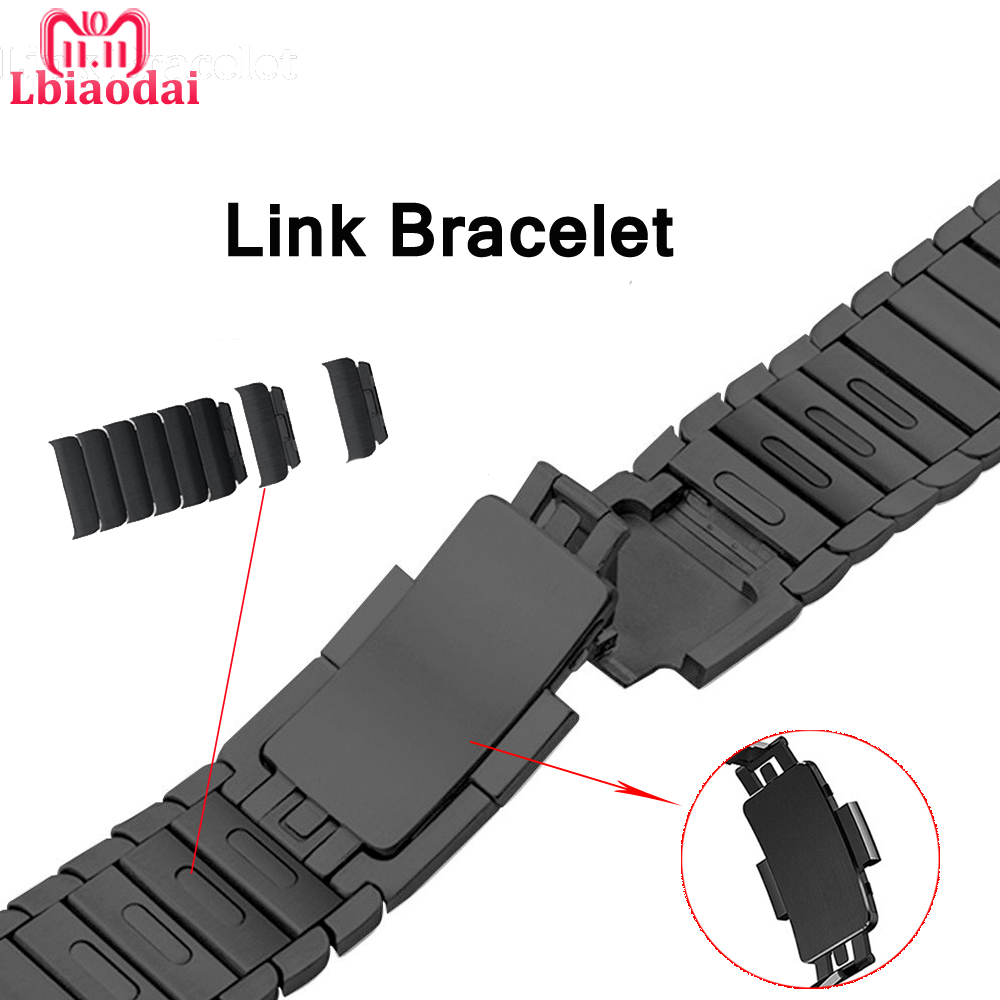 Stainless Steel strap for Apple watch band 42mm 38mm 44mm 40mm watchband Link Bracelet Correas for iwatch 4/3/2/1 metal buckle jansin strap band for apple watch 40mm 44mm 42mm 38mm for iwatch 3 2 1 stainless steel watch band link bracelet watchband strap