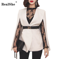 RealShe New Arrival Women Cape Blazer Fashion White Black V Neck Sashes Elegant Top 2017 Women