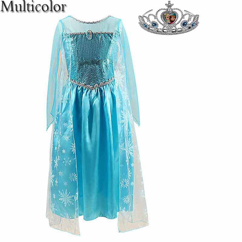 Multicolor Hot Selling Girls Princess Belle Dress For Girls Princess Anna Elsa Cosplay Costume Kid's Party Dress Kids Clothes